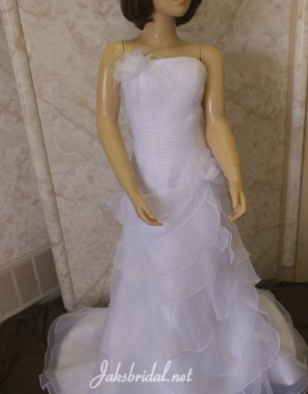 white strapless flower girl dress