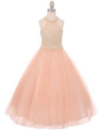 Sophisticated halter neck, pearl covered bodice and ladylike look. Girls long blush pearl embellished party dress.