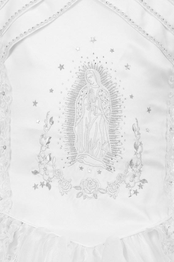 organza communion dress with virgin mary bodice