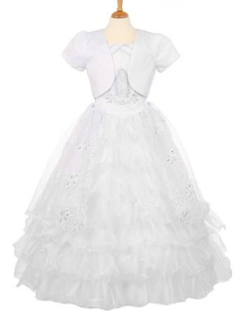 organza communion dress with vigin mary on the bodice