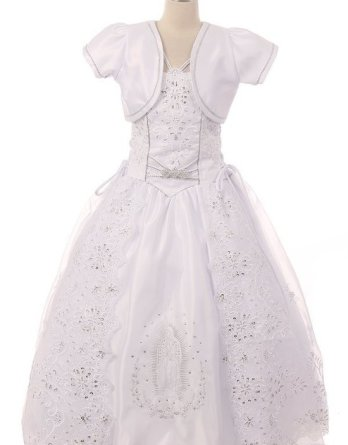 first communion dresses with virgin mary