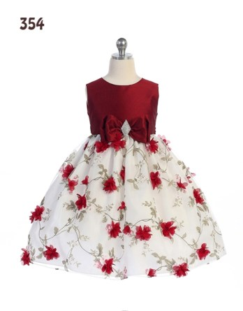 Girls summer floral dresses sprinkled with red flowers.