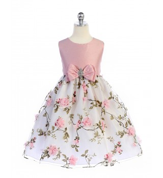 girls pink floral dresses