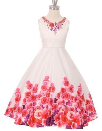 girls pink rose garden dress