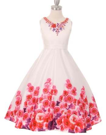 girls pink rose garden dress