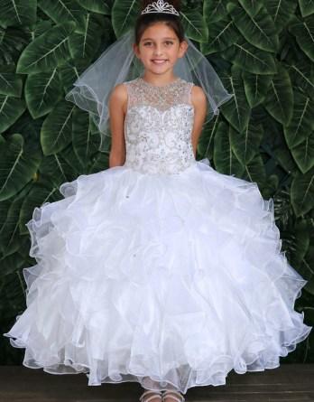 white communion sleeveless ball gown