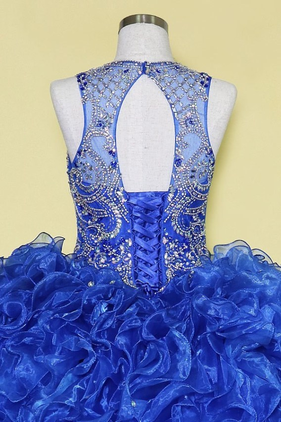 royal blue open back prom gown
