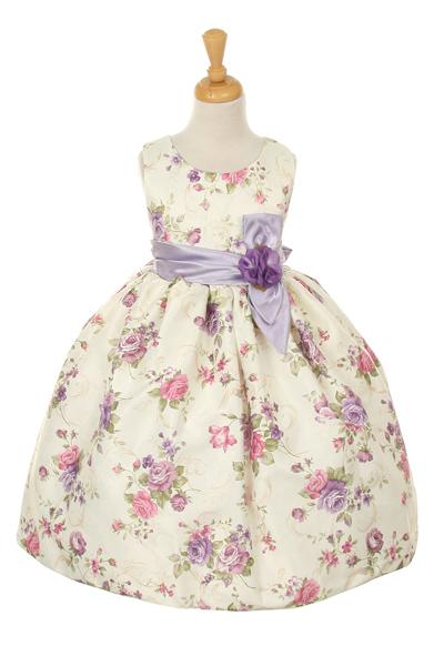 Girls lavender flowered Easter dress