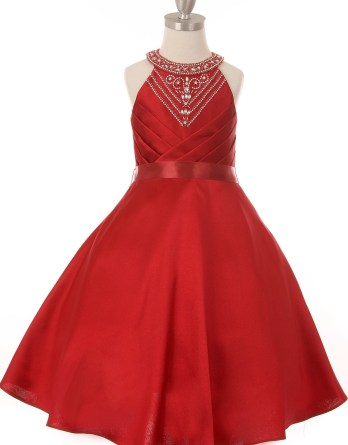 Amazing girls halter dress embedded and handcrafted in rhinestone with side pleats. Short dresses size 2-16.