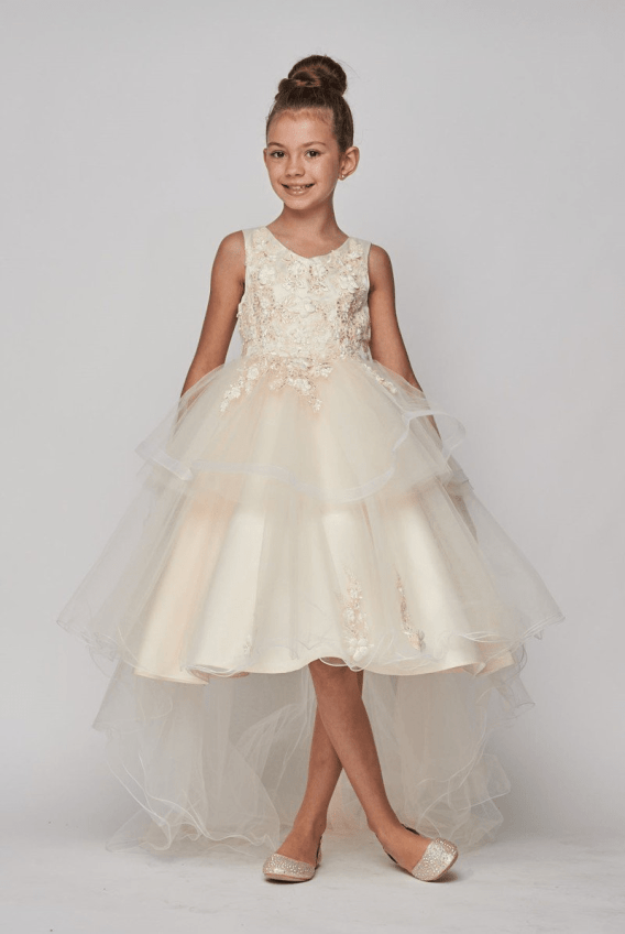cheap ivory flower girl dress with train
