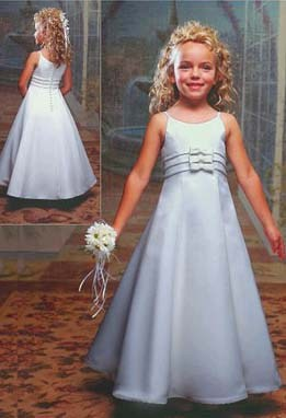 Long white & ivory flower girl dresses. A sleeveless budget with bodice bows on clearance sale for $40.