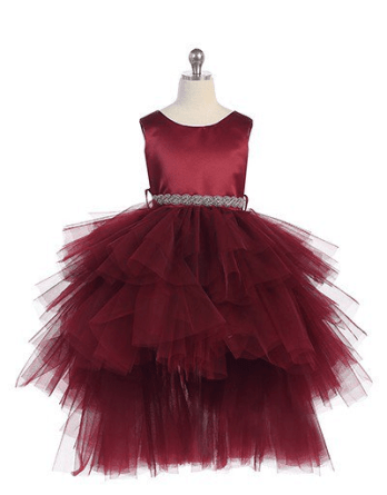 burgundy high low hem dresses