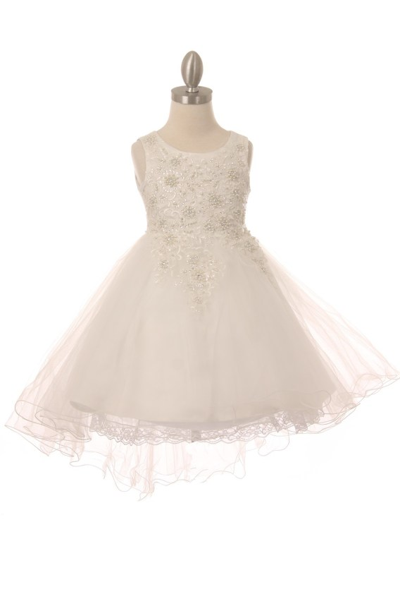 Sleeveless tulle & lace dress, with pearls and sparkling rhinestones. Girls white high low dress with wire hem train.