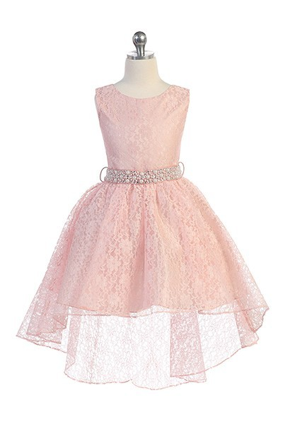 Hi-low allover lace dress in blush