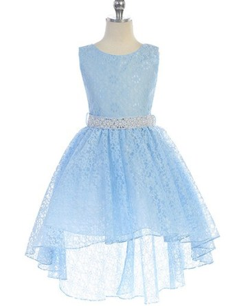 Hi-low allover lace dress in light blue
