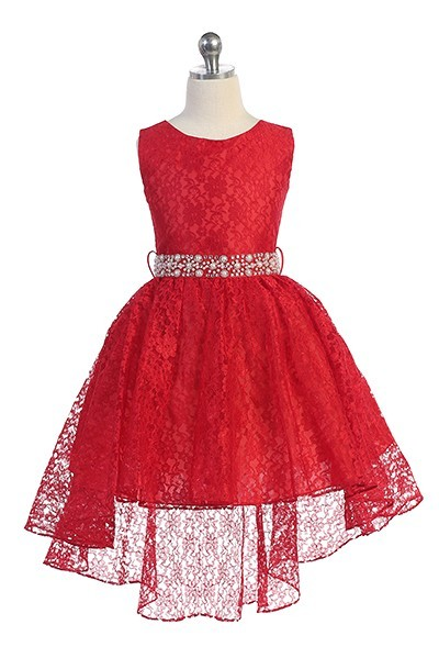 Hi-low allover lace dress with a voluminous skirt and detachable rhinestone belt. Red flower Girl dresses with tie back.