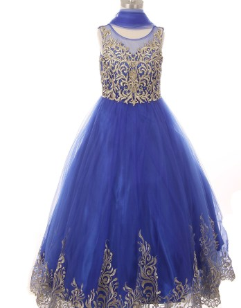 little girls formal royal blue dress. Embroidered hemline