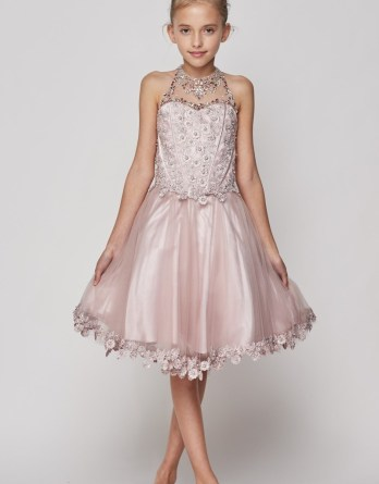 Girls short halter dress with rhinestone illusion neck. A strap back dress, flower lace bodice and hem, with corset tie.