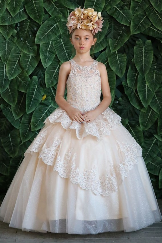 little champagne pageant dress
