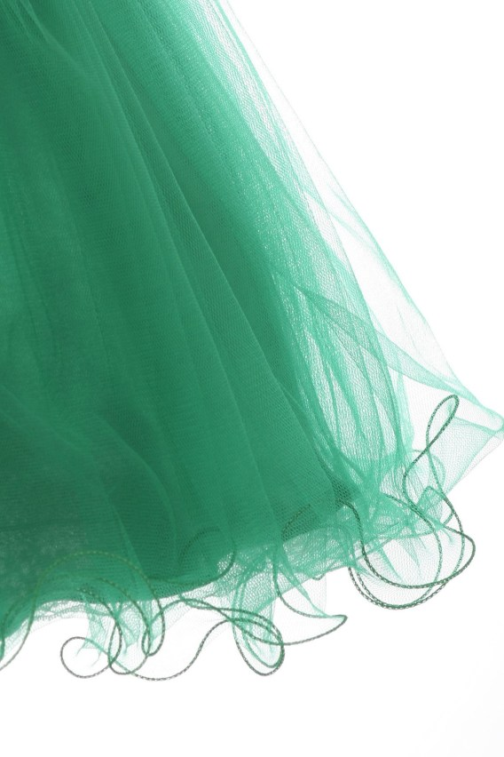 Girls cute emerald green holiday dresses. Sleeveless, sweetheart illusion neck dress has short tulle skirt with wired hem.