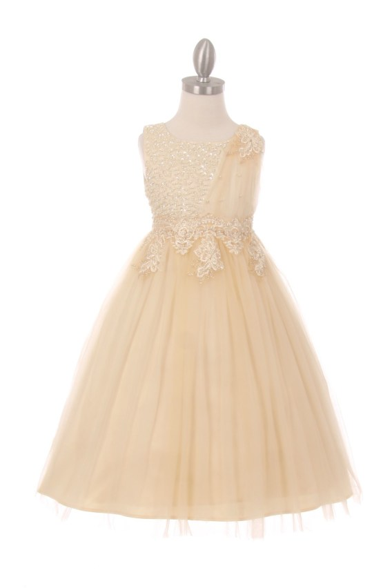 champagne sleeveless tulle dress