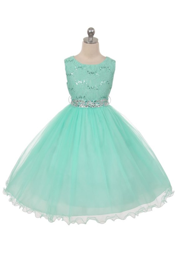 Mint sleeveless lace top sequin dress. Size 2-20. Girls tea length skirt has two layers of tulle, rhinestone belt.