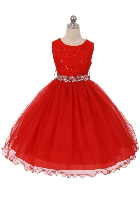 Red sleeveless lace top sequin dress. Size 2-20. Girls tea length skirt has two layers of tulle, rhinestone belt.