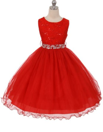 Red sequin dress. Size 2-20. Girls tea length skirt has two layers of tulle, rhinestone belt.