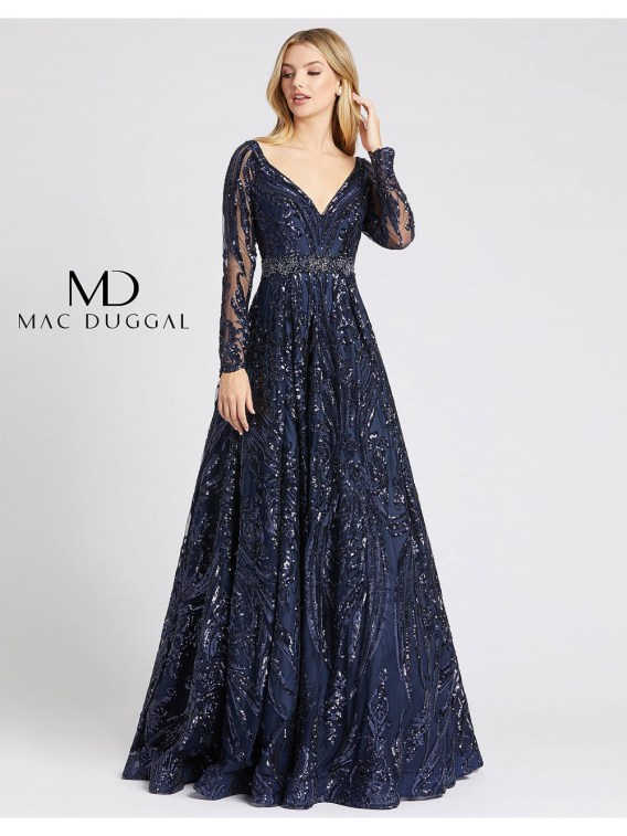MacDuggal 67113 sequence ballgown long illusion sleeves sweetheart embellished belt