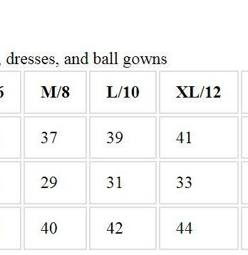 Juliet size chart