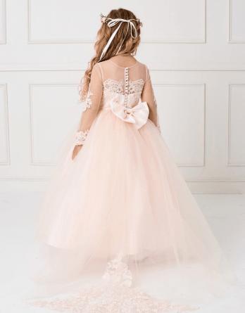 blush lace long sleeve flower girl dress