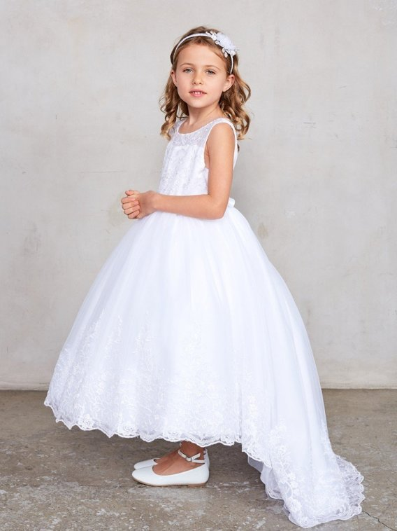 white lace flower girl dresses