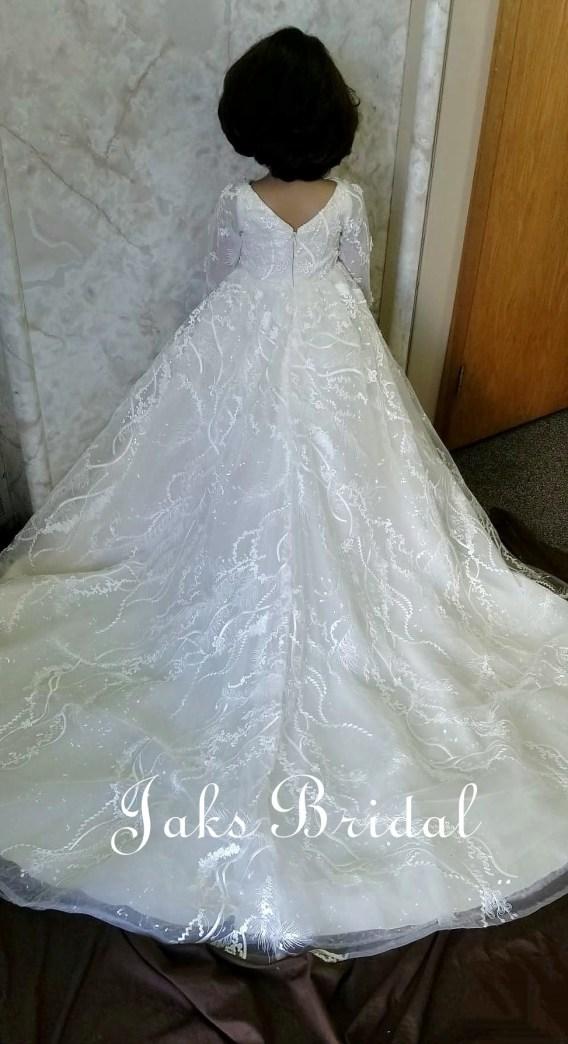 V Neck Wedding Flower Girl Dress