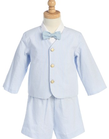 Blue 4-Piece Suit Includes Jacket, Shorts, Shirt and Bow Tie