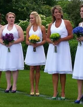 Short chiffon wedding dress