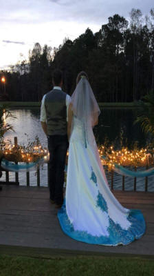 blue and white wedding dresses with halter top