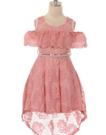 rose lace hi low dress