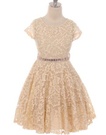 girls champagne lace skater skirt dress