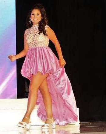 pink teen high low gown