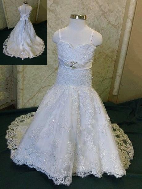 Infant lace mermaid flower girl dress with crystal wedding sash