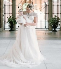 Bride and matching flower girl dresses.