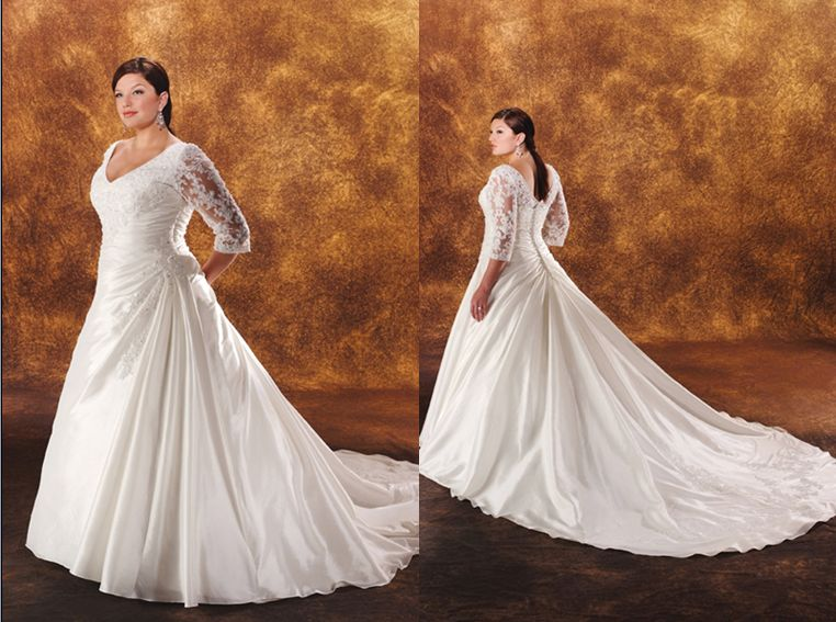 Long Sleeved Plus Size Wedding Gown Under $400