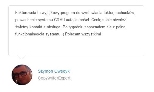 opinia o fakturownia przez agencje reklamowa CopywriterExpert Szymon Owedyk