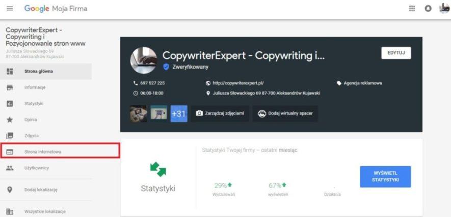 Tworzenie Strony www w Google Moja Firma