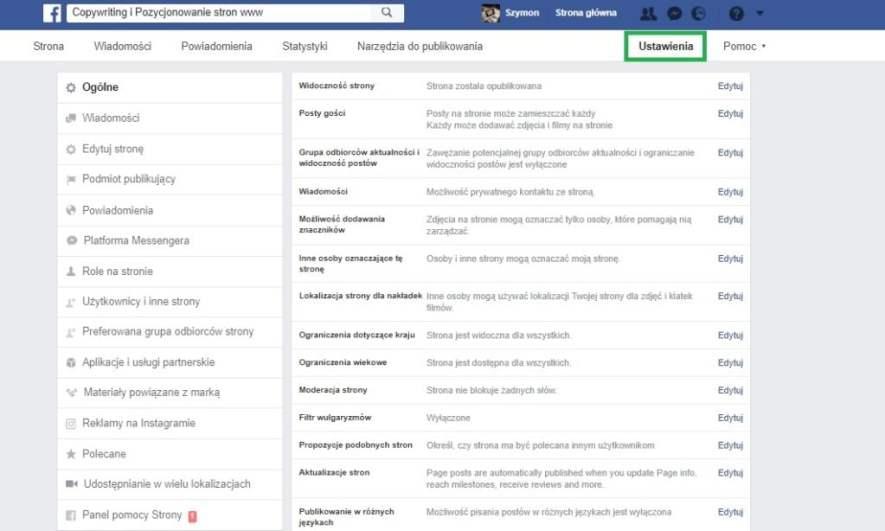 Jak usunąć recenzje na Facebooku - Ustawienia strony