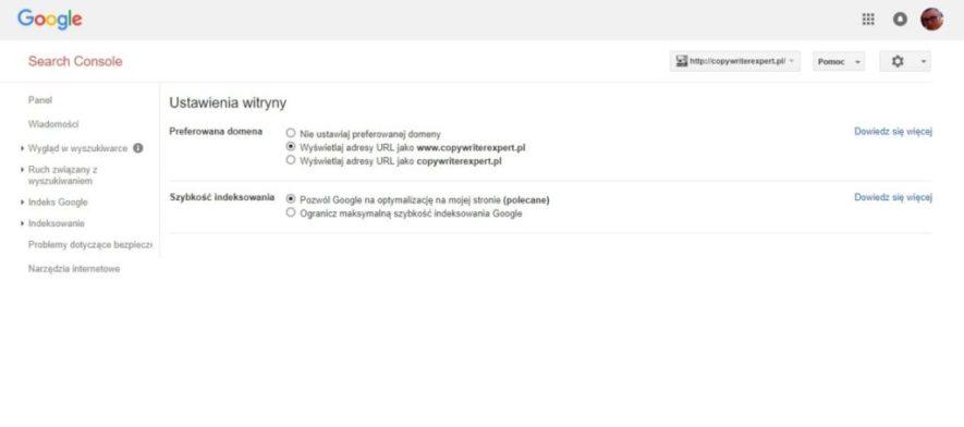 Ustawienia witryny w Google Search Console - wybór preferowanej domeny