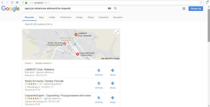 Wizytówka firmy CopywriterExpert w wynikach wyszukiwania Google