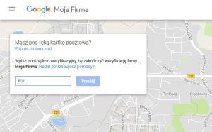 kod weryfikacyjny usługi Google Moja Firma