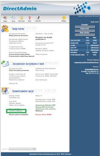 Instalator aplikacji czyli WordPress w direct Admin