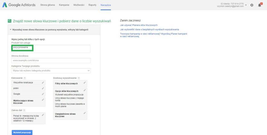 Jak dobrać słowa kluczowe do pozycjonowania przez Planner słów kluczowych Google